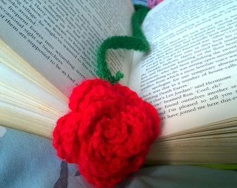 Rose Bookmark Crochet Applique