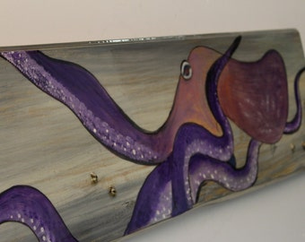OCTOPUS - Handpainted octopus on distressed look cypress plank with real barnacles sealed into sign.
