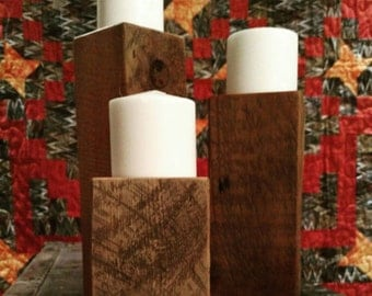 Set of 3 Rustic candle stick holders