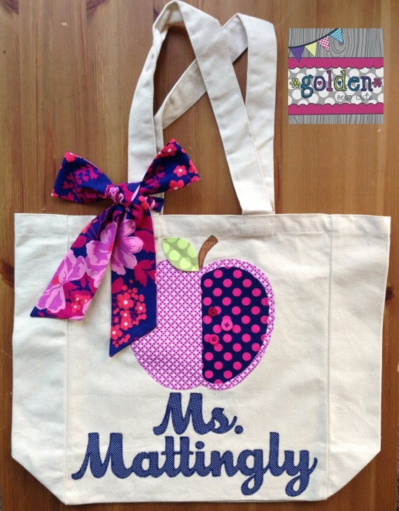 Personalized Name and Apple Teacher Tote Bag with Fabric Bow, Navy and Pink