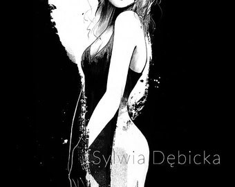 "Fashion illustration art print poster wall decor ""Crush"" Jessica Stam"