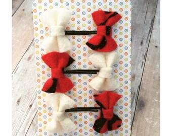 Red hair bow bobby pins, White hair bow mini hair pins, Winter hair bow pins, Party bobby pins, Girl's hair bow accessory - Set of 6