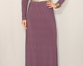 SALE Size Small Plum dress Long sleeve dress Maxi dress Round neck dress Women