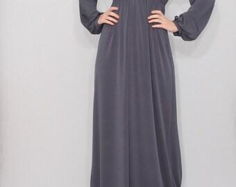 Gray maxi dress Long sleeve dress Empire waist dress Women