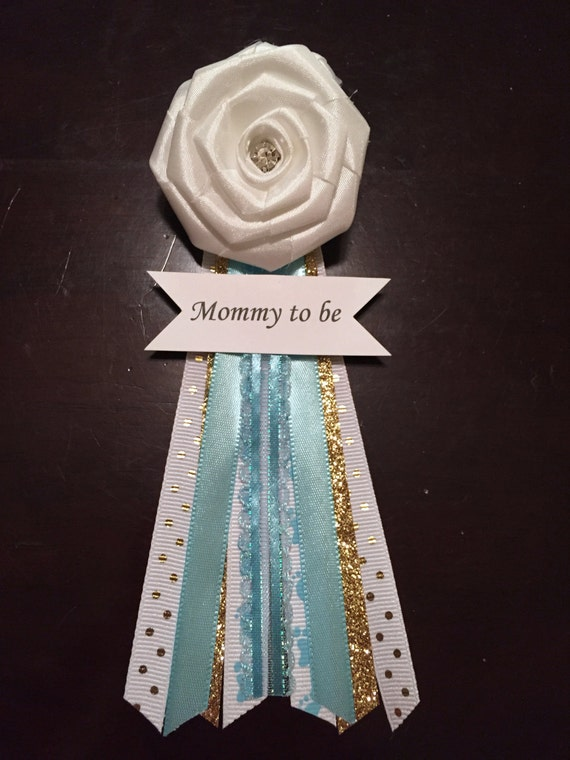 mommy to be corsage blue white and gold baby shower corsage