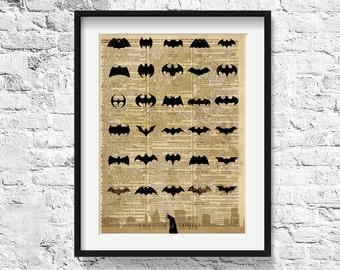 batman / superhero art / art print on vintage dictionary page/ poster / 223