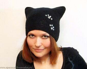 Black Cat Hat, Knit Cat Ears Hat or Cat Beanie, Woomens Cat Hat, art. 18