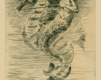 Mermaid Riding Seahorse by Frederick Church Art Deco Repro FREE SHIPPING in USA