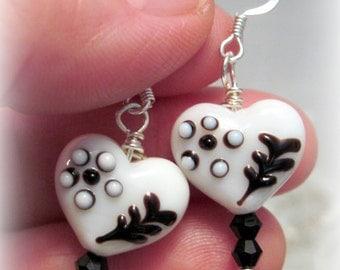 Valentine Earrings - White & Black, Heart Earrings, Valentine Gift for Her