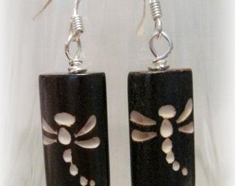 Dragonfly Earrings, Dark Brown Dragonfly Dangles, Earthy Earrings