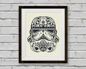 BOGO FREE! Stormtrooper, Star Wars Cross Stitch Pattern, Sugar Skull Storm Trooper Needlecraft  Needlework Instant PDF Download  #002-1