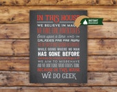 Alternate In This House We Do Geek in Red, White and Charcoal Wall Art 11x14 Printable File