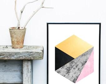 Scandi Print, Abstract Art Print, Printable Art, Geometric Print, Mid Century, Minimalist Art, Abstract Wall Art, Digital Download