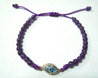 AMETHYST With 925 Sterling Silver Evil Eye Bracelet