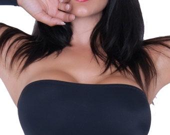 Black Lycra Boob Tube Spandex Bandeau Stretch Top BM
