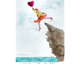 Leap of Faith - limited edition giclee print of an original watercolor by Lisa Mann Dirkes