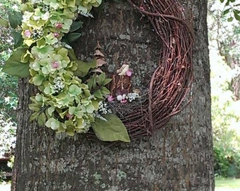 Hydrangea Wood Forest Wreath