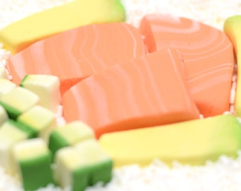 Fondant Sushi - Salmon, Cucumbers, Avocado 3D Cake Toppers