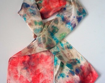 Colorful Silk Scarf Hand dyed