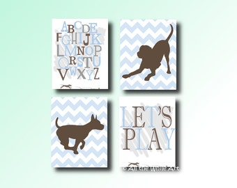 Original Dogs and Play Boys Nursery Wall Art, Baby's Room Decor - Set of 4 Prints Framed or Unframed - Multiple Sizes Availabe