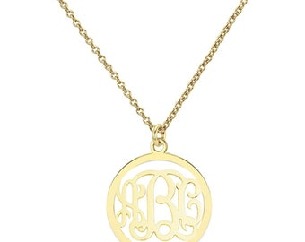 14k solid yellow gold 3 Initials Monogram necklace - any initial Gold monogram necklace