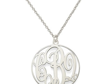 """Initials monogram necklace - 1"""" any initial silver monogram necklace in 925 sterling silver"""