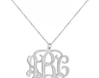 3 Initials monogram necklace - 1 inch any initial silver monogram necklace in 925 sterling silver