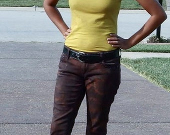 Tie Dye Dark Burgundy Jeans with Rhinestones