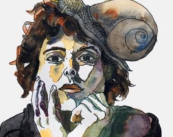 Snaily Sunday - watercolor art print snail art snail portrait -signed limited edition!