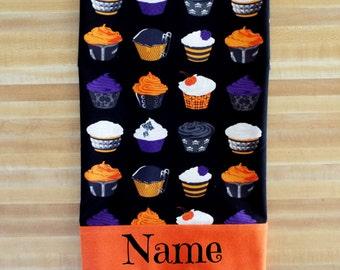 Halloween Pillowcase, Halloween Cupcake Pillowcase, Girls Pillowcase, Pillowcase, Cupcakes, Bedding, Embroidered, Monogrammed