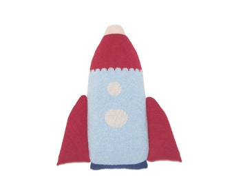 Rocket Ship Pillow, Soft Knitted Toy