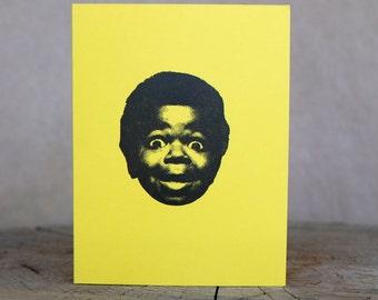 Letterpress Greeting Card, Gary Coleman – Yellow