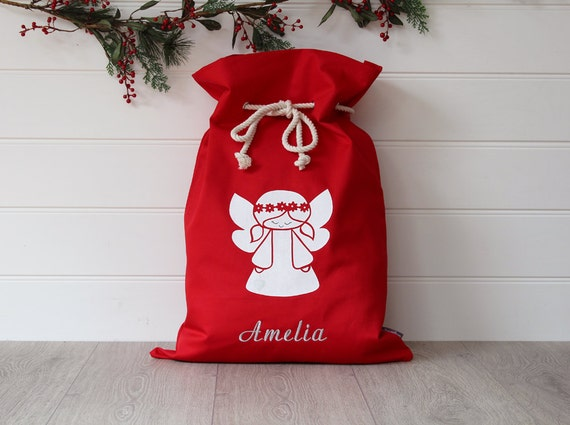 Personalised Santa Sack in Red with White Angel