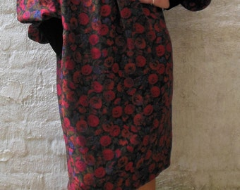 Stunning Vintage Miss O by Oscar de la Renta for Saks Fifth Avenue 80s Autumn Floral Dress Size Medium