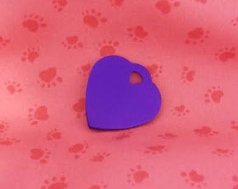 Pet ID Tags, Dog Tags, Cat Tags, Engraved Pet ID Tags, Small Purple Heart Tag