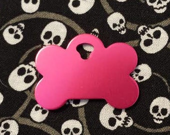 Pet ID Tags, Dog Tags, Engraved Pet ID Tags, Small Pink Bone Tag