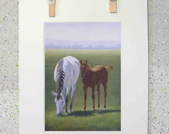 Horses, equine art, original oil painting fine art print by Elena Parashko, mare and foal, horses, equestrian