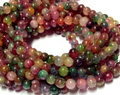 4mm Fancy Tourmaline Gemstone Beads - 14.5inch Full strand - Round Gemstone Beads - Candy Tourmaline