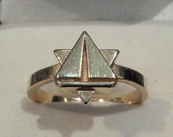 Ladies sailboat Star of David ring
