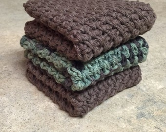 Cotton Crochet Dishcloth, Washcloth - Set of 3