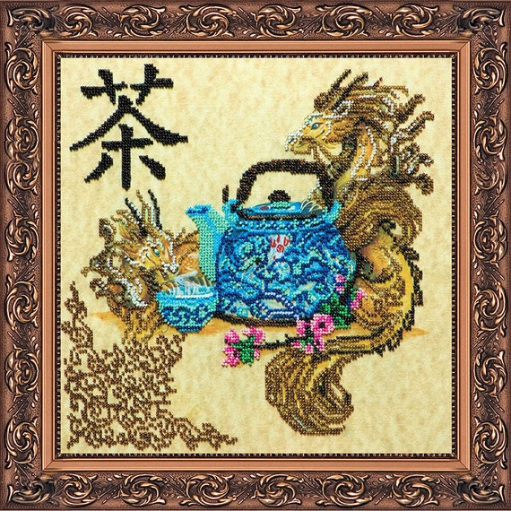 Items similar to bead embroidery kit chinese tea time