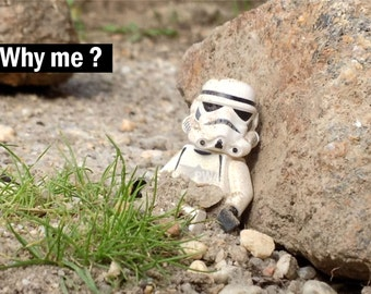 Lego Stormtrooper minifigure photograph Why me?
