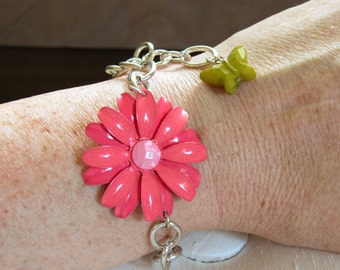 Chain Bracelet with Fuchsia Flower and Yellow Butterfly - adjustable w/Lobster Claw Clasp