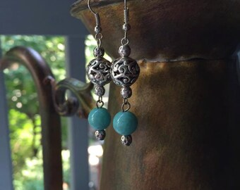 Silver and Turquoise Tribal Drop Dangle Earrings