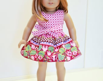 American made Girl Doll Clothes, 18 inch Girl Doll Clothing, Raspberry Border Print Dress made to fit like American girl doll clothes