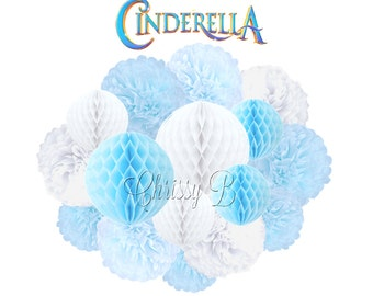 CINDERELLA Deluxe Party Decorations - Honeycomb Tissue Balls & Tissue Pom Kit - Light Blue, Sky Blue and White - Birthday Party, Baby Shower