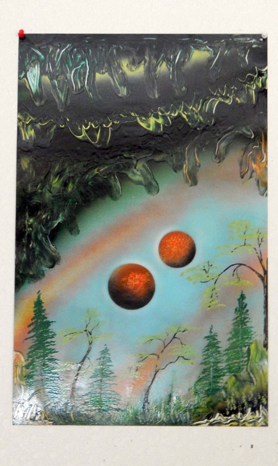 Items similar to waterfall forest moon spray paint art for Waterfall design etsy
