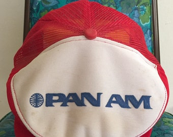 Vintage Pan Am Airlines flat cap hat /// FREE SHIPPING