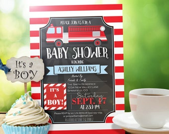 Fire Truck Baby Shower Invitation - Personalized Printable DIGITAL FILE - Firefighter Themed Invite