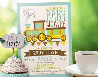 Train Baby Shower Invitation - Personalized Printable DIGITAL FILE - Boy Baby Shower Invite